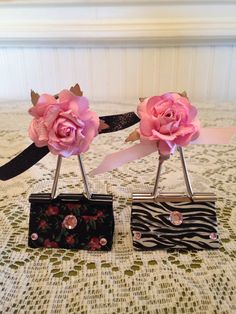 Binder Clips-sew the roses onto the end of the clip so they can be rotated depending on how they are being used.