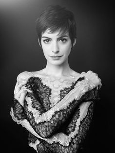 Anne Hathaway | love the pixie cut. Brings out her eyes so much