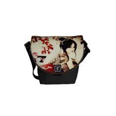 Shop Vintage Japanese Girl Messenger Bag created by ArtsofLove. Vintage Japanese, Japanese Girl, Japanese Bag, Japanese Outfits, Girls Messenger Bag, Cute Bags, Beautiful Bags, Purses And Handbags, Lady