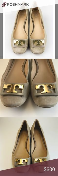 Tory Burch Suede Flats Tory Burch Suede Gigi Flats Size 7. Color is taupe. Light wear as you can see in pics but overall great condition. Few minor scratches in front. Leather insole and outsole. Has small heel about an inch. Tory Burch Shoes Flats & Loafers
