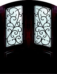 Scrolls in the window of the door and the dark stained wood- beautiful