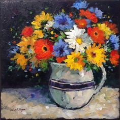"""Daily+Paintworks+-+""""Poppies+and+Daisies""""+-+Original+Fine+Art+for+Sale+-+©+Nancy+F.+Morgan"""