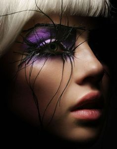 crazy eyelashes and purple eye #scare2win an iPad courtesy of @Halloween Alley HQ