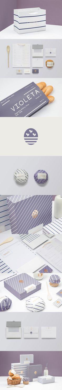 Branding : Violeta by Caserne Stationary Branding, Bakery Branding, Restaurant Branding, Brand Identity Design, Corporate Design, Branding Design, Logo Design, Brand Packaging, Packaging Design