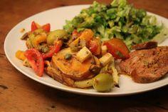 Andorra Recipes: Potato-egg tortilla topped with orange-fennel salsa, red wine chorizo, and a green salad #andorra #recipes