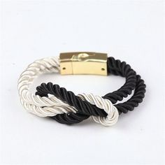 Hot fashion Bracelets braided rope chain with a magnetic clasp with bow charm of leather
