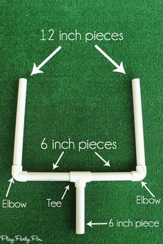 OK, maybe I am a bit early to start talking about Super Bowl parties but I saw this idea and I just had to share! (Also, it's not JUST a Super Bowl party idea, you could use this for any sports-themed event.) So easy. Cut your PVC pipes to these measurements: Attach them and spray … Sports Birthday, Football Birthday Cakes, Football Cakes For Boys, Football Stand, Football Field Cake, Football Goal Post, 7th Birthday, Birthday Party Themes, Birthday Ideas