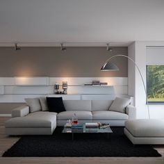 Indulgent grey apartment- neutral couch atop black area rug with minimal accessories and floor lamp