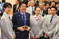Yuzuru Hanyu, Shinzo Abe, Mao Asada, Daisuke Takahashi, APRIL 25, 2014 : a presentation ceremony of souvenirs for Sochi 2014 Olympic and Par...
