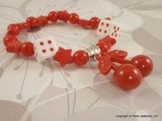 Cherry Dice charm Bracelet.Kitsch Rockabilly Fruits.DiY