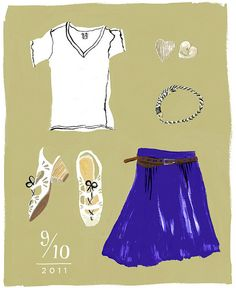 "all of the ""what i wore"" illustrations in this blog are so cute - but my favorite is this one because: those shoes!"