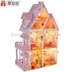 Source Manufacturer produced colorful miniature doll house DIY wooden european building with furniture and light on m.alibaba.com
