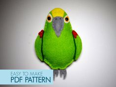 Easy to sew felt PDF pattern. DIY Ugo the Amazon Parrot, finger puppet or ornament.