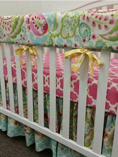 Crib bedding baby bedding crib set- bumpers sheet skirt - Kumari garden Tarika pink and Sujata pink floral blue green yellow
