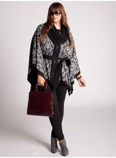 Plus Size Renn Reversible Poncho in Black by IGIGI - StyleSays