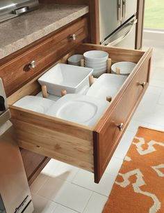 A pegged drawer from Homecrest keeps all your china in easy reach. No heavy lifting required.