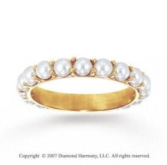 14k Y Gold Prong Round Pearl Eternity Stackable Ring | Shop fashion, accessories,luxury| Kaboodle
