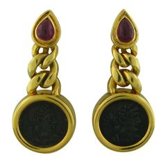 BULGARI Gold Ancient Coin Ruby Earrings