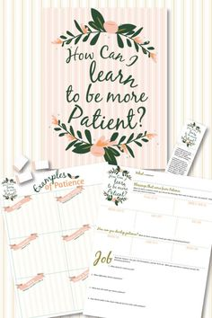 """LDS young women and men Come Follow Me lesson helps!   Awesome study and teaching package for the October lesson """"How Can I Learn to Be More Patient?"""".  Lots of study pages and hand outs!  Just print from home!"""