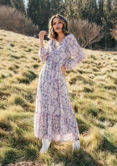 Floral PrintChiffon Maxi Dress 100% Polyester V Neck Sheer Long Sleeve Adjustable Cinch Waist Lined In Stock Chiffon Maxi Dress, Floral Maxi Dress, Tiered Skirts, Print Chiffon, Dress Making, Bohemian Style, Floral Prints, Long Sleeve, Versailles