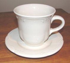 Pfaltzgraff FILIGREE White Cup & Saucer (2 Sets) USA #Pfaltzgraff