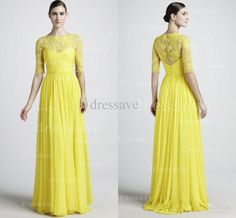 Wholesale Evening Dress - Buy 2014 Designer Summer Spring Yellow Prom Dresses Chiffon High Collar Long Sleeves Beaded Runway Lace Pageant Evening Dresses BO1824, $129.0 | DHgate