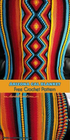 afghan patterns This is a CAL blanket was created by the talented designer Pippin Poppycock. Representing Arizona, it uses colors typical of traditional Native American blankets. Crochet Afghans, Afghan Crochet Patterns, Knitting Patterns, Crochet Blankets, Crochet Indian Blanket Free Pattern, Crochet Cushions, Crochet Pillow, Tunisian Crochet, Crochet Granny