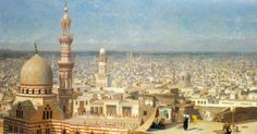 Egypt , Old Cairo Paintings: Jean Leon Gerome - French , 1824 - 1904 - View Of Cairo