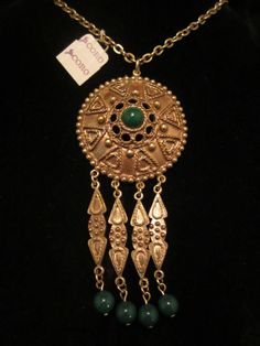 "Runway Vintage 32"" Signed Coro Gold Tone Necklace 4"" Revival Tassel Pendant A5"