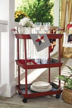 Kitchen Utility Cart - Bar Carts in Fun Classy Red                                                                                                                                                      More