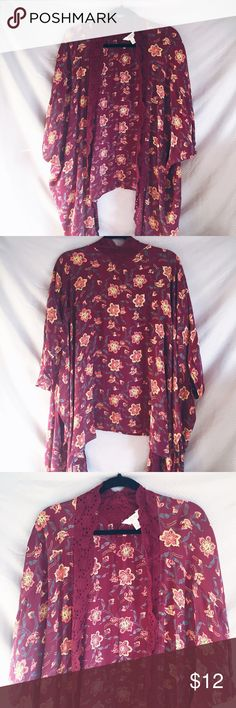 ✨NEW LISTING✨ Long Floral Kimono Maroon/red kimono with floral print. Has lace detailing along the front. Thin material, 100% rayon. High-low design. It is size M/L but can fit up to  size x-large since it is oversized and loose fitting. Please comment below for more sizing info  Tops