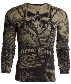Xtreme Couture AFFLICTION Mens THERMAL T-Shirt KILLER Tattoo Biker UFC M-3XL $58 #Affliction #GraphicTee