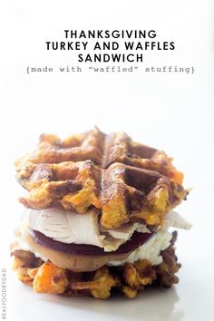 Turkey and Waffles Sandwich from RealFoodbyDad - Made with waffled stuffing!