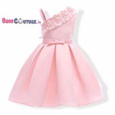 Peachy Pink Stylish Shoulder Flower Kids Dress