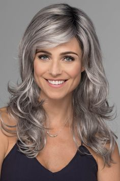 The Orchid Wig by Estetica Designs is a long layered cut with free flowing waves and face framing layers. Orchid promises to keep you looking runway ready! Grey Hair At 30, Grey Hair Wig, Front Hair Styles, Curly Hair Styles, Hair Front, Hight Light, Best Human Hair Wigs, Long Layered Hair, Long Hair