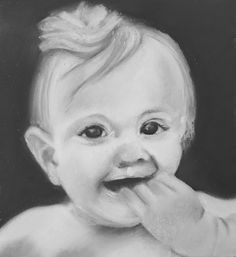 Portrait of child: sketched pencil base, with conté, charcoal and white chalk overlay