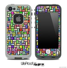 Multicolor Stain Glass Skin for the iPhone 4/4s or 5 LifeProof Case on Etsy, $9.99