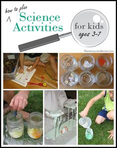 Planning science activities for kids ages - The Measured Mom Includes links to websites with experiment ideas Science Activities For Kids, Kindergarten Science, Science Classroom, Teaching Science, Stem Activities, Science Projects, Montessori Preschool, Science Ideas, Science Fair