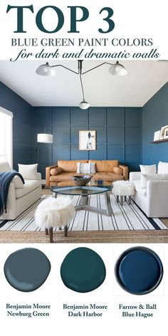 Home Decorating DIY Projects: Top 3 Blue Green Paint Colors for Dark and Dramatic Walls, dark green walls, dar. Green Bedroom Colors, Blue Green Bedrooms, Bedroom Paint Colors, Paint Colors For Living Room, Paint Colors For Home, Paint Walls, Blue Bedroom, Best Wall Paint, Dark Green Walls