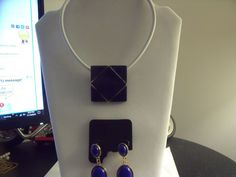 Necklace & Earrings Set Blue and Gold White Chain Necklace | eBay