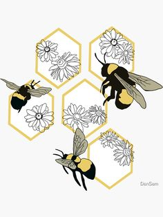 Hexagon Tattoo, Honeycomb Tattoo, Honey Bee Drawing, Bee Sketch, Bumble Bee Tattoo, Bee Painting, Theme Tattoo, Bee Boxes, Bee On Flower