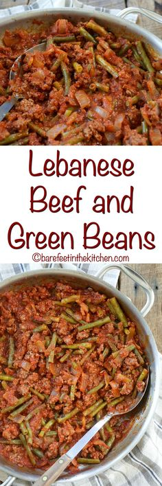 Lebanese Beef and Green Beans is a no-fuss dinner that everyone loves! get the recipe at barefeetinthekitchen.com