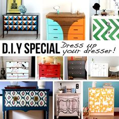 Love the bottom blue one -- DIY Dresser Inspiration Special. Upcycled Furniture, Furniture Projects, Furniture Makeover, Home Projects, Home Crafts, Painted Furniture, Diy Furniture, Diy Home Decor, Furniture Plans