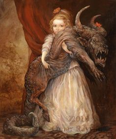 "Concept Art Writing Prompt: Portrait of a Girl with her Demon Pet - by Omar Rayyan it is titled ""The Favorite"""