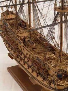 Close views of ship model San Felipe Model Sailing Ships, Old Sailing Ships, Wooden Model Boats, Wood Boats, Model Ship Building, Boat Building, Trawler Boats, Scale Model Ships, Classic Wooden Boats