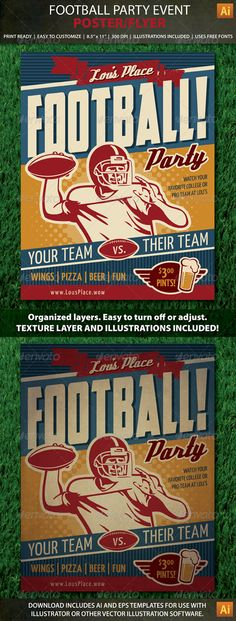 7b5eaca7785d4 Retro Football Party or Event Poster Flyer Template PSD