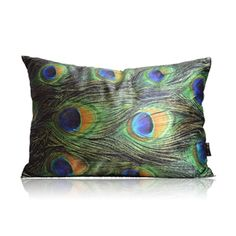 Modern Peacock Feather Pattern Winceyette Printing Lumbar Pillow