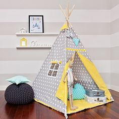 Teepee Kids Play Tent Tipi Yellow Dots by FUNwithMUM on Etsy