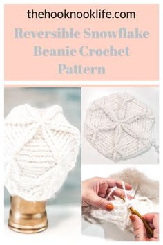 Create this Easy Crochet Project for a Reversible Beanie using the Free Pattern on The Hook Nook Life Blog Today!