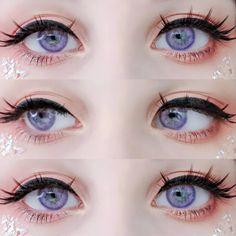 Kawaii Makeup, Cute Makeup, Makeup Looks, Purple Contacts, Colored Eye Contacts, Anime Eye Makeup, Anime Eyes, Makeup Eyes, Aesthetic Eyes